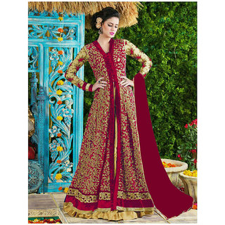 Thankar Red And Beige Embroidered Net Anarkali Suit