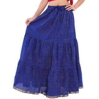 d751954d75 Decot Paradise Polka Print Blue color cotton Long Womens Regular Skirt