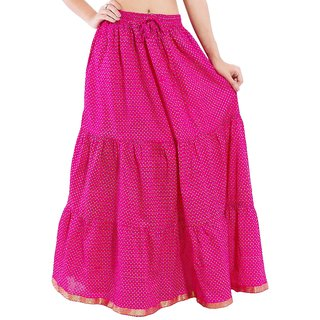 Decot Paradise Polka Print Pink color cotton Long Women's Regular Skirt