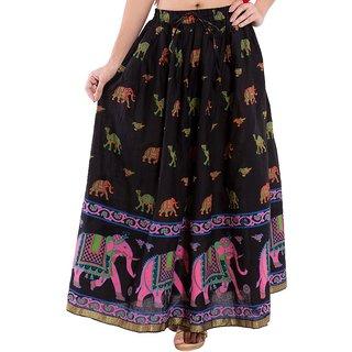 Decot Paradise Animal Print Black color Casual Cotton Long Women's Regular Skirt