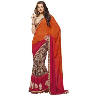 SuratTex Multicolor Georgette Embroidered Saree With Blouse