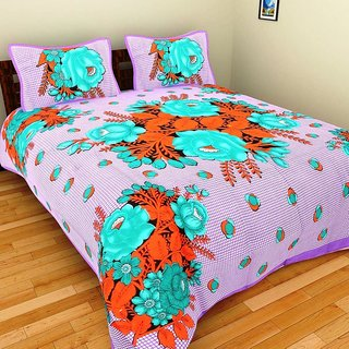 GRJ India Floral Print Pure Cotton Double BedSheet With 2 Pillow Covers