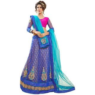 Lookslady Embroidered Blue Soft Net Heavy Border Lehenga Choli