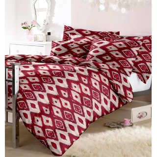 ABB Aaditya Cotton Rich Abstract Double Bedsheet with 2 pillow cover
