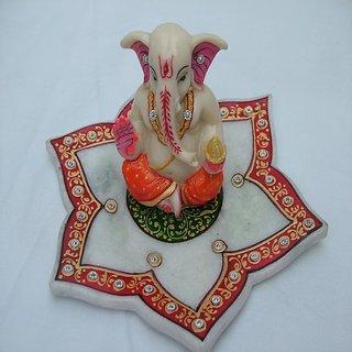 jaipurikala Decorative Ganesh With Chowki
