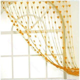 Shiv Kirpa Yellow Heart Curtain Set Of 2