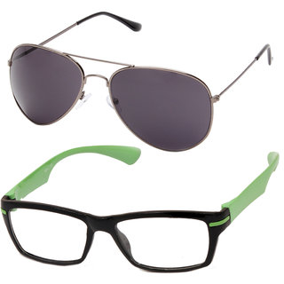 Aoito Trendy Aviator Sunglasses & Aoito Green Eyeglasses.