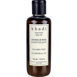Khadi Paraben Free Ayurvedic Rosemary Henna Hair Growth Oil For Men  Women For All Hair Types - 210ml (Set of 1)