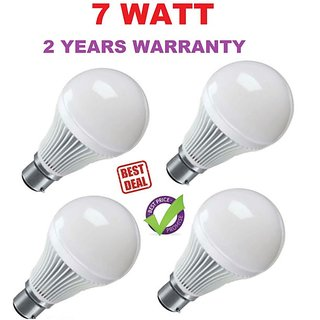 NEW COOL WHITE LED BULBS SUPER SAVER PACK Set of 4 PCS 7 WATT MADE IN INDIA