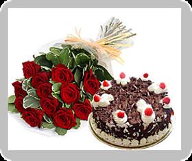 12 Roses & black forest cake