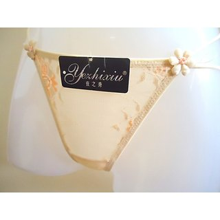 BRIDAL FINE QUALITY FULL  NET PANTY THONG WITH PEARLS