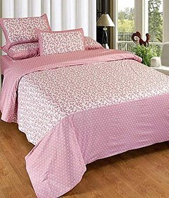 GEO NATURE POLY COTTON PINK DOUBLE BEDSHEET WITH 2 PILLOW COVERS (TBED2006)
