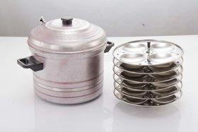 Mahavir Stainless Steel Idly Cooker-24 Idlies- Metallic Red (6PLIDPK)