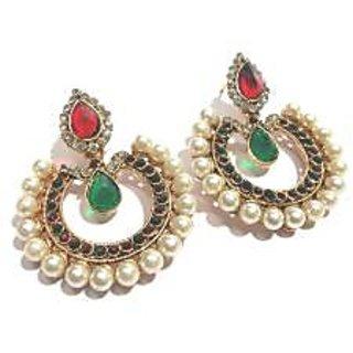 Maroon and green tilak pearl polki earrings