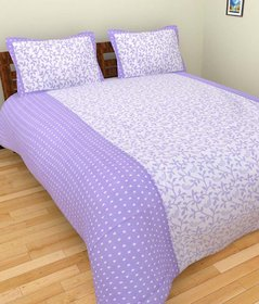 GEO NATURE POLY COTTON  PURPLE DOUBLE BEDSHEET WITH 2 PILLOW COVERS (TBED2024)