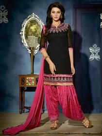 Kvsfab Black Georgette Printed Salwar Suit Dress Material (Unstitched)