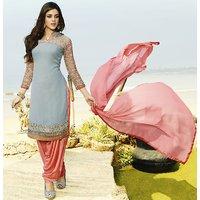Kvsfab Multicolor Georgette Printed Salwar Suit Dress Material (Unstitched)