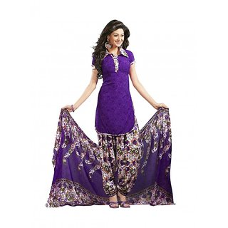 Drapes Purple Printed Crepe Salwar Suit Material (Unstitched)