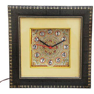 HANDICRAFTS PARADISE MARBLE DECORATIVE KUNDAN WORK WALL CLOCK HPMR15005