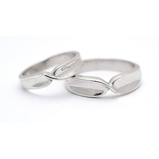 Cara Simple Wave Silver Couple Bands