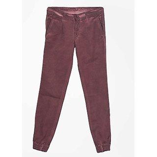 John Players Slim Fit Men Trousers Fabric Velvet Cotton Striped Color Brown