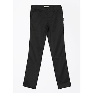 John Players Slim Fit Men Trousers Fabric Polyester Cotton Striped Color Black