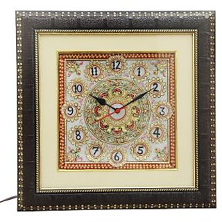 HANDICRAFTS PARADISE MARBLE KUNDAN DECORATIVE WALL CLOCK HPMR15010