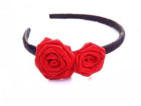 Devart Creation Red  Black Rose Hair Band For Girls, Kids  Womens