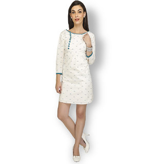 Free Spirited White Cotton Printed A Line Dress