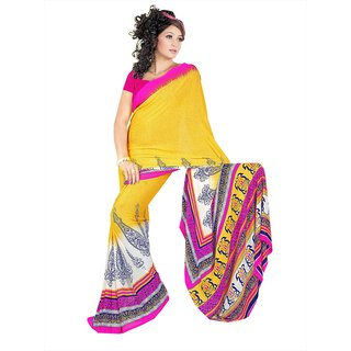 pink and yellow faux georgette saree with unstitched blouse (11901)