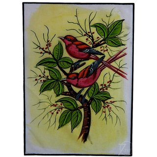 Handmade Indian Miniature Painting-birds On Tree