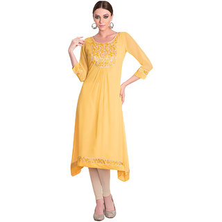 SuratTex Yellow Embroidered Georgette Stitched Kurti