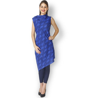 Free Spirited Blue Cotton Printed Straight Line Kurti