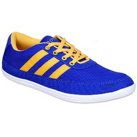 Sukun Mens Blue & Yellow Lace-up Smart Casuals Shoes