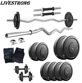 Livestrong Home Gym Set With 26 kg Weight +3ft Curl Rod+Dumbbells Rod+Gloves