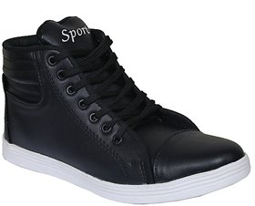Sukun Mens Black Lace-up Casual Shoes