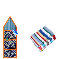 Jars Collections Cotton Multicolor Face Towels (4X99 Inch) Combo Of Wall Hanging With 3 Pockets And 1 Terry Face Towel