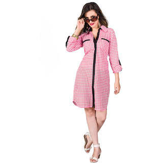 SuratTex Pink Printed Cotton Stitched Kurti