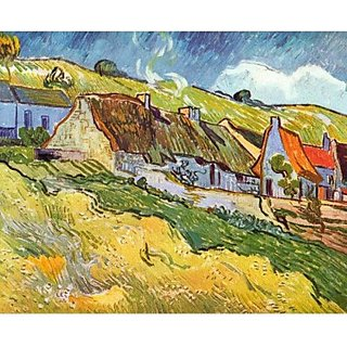 Snapgalaxy Art Panel - Huts in Auvers by Van Gogh Canvas Painting