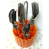24pc Cutlery Set (6 Teaspoon,dinner Spoon,dinner Fork Spoon,dinner Knife_H6U34