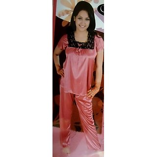 83e20f1711b Sleepwear Girls Night Suit In Lace And Satin - Onion And Black