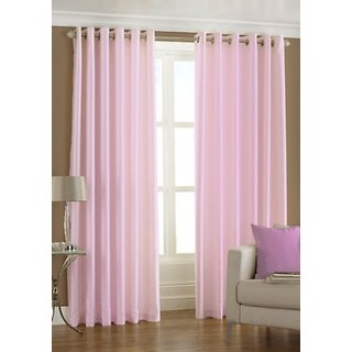 GEO NATURE EYELET BABY PINK CURTAIN SET OF 2 (TWIN044)