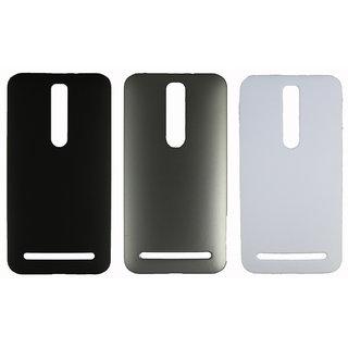 Fcs Rubberised Hard Back Case For Asus Zenfone 2 In Matte Finish-Combo Of 3 FCS-C-HB-ZENFONE-2-BK-SL-WT