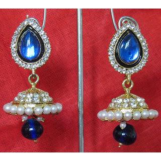 Dark Blue drop wonderful tilak  jumka earring