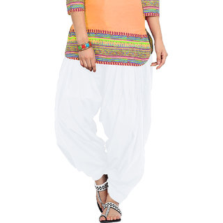 BrandTrendz In Trend White Cotton Patiala Salwar