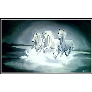 Horse Painting Oil And Canvas Size-30 x 17 inch