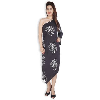 Free Spirited Grey Printed Crepe Straight Line Dress for women