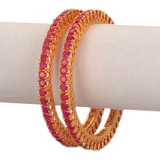 American Diamond Bangles Studded With Pink Stones