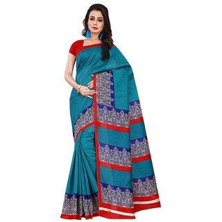 Florence Blue Bhagalpuri Silk, Raw Silk Batik Print Saree With Blouse
