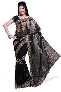 Black Party Wear Net Saree